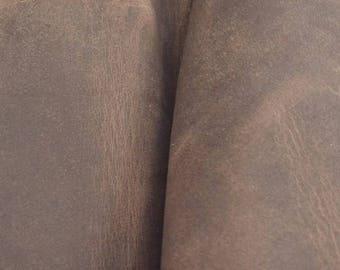"Pre-cut Rustic Medium Iron Leather Oil Tan Cow Hide 4""x 6"" 5-6 ounces smooth DE-57955 (Sec. 7,Shelf 6,A, Box 2)"