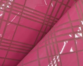 """Preppy Pink Plaid Leaves Leather Cow Hide 12"""" x 12"""" Pre-cut 2 ounces DE-63136 (Sec. 5,Shelf 6,A)"""