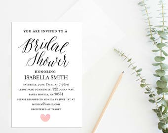 Bridal Shower Invitation, Bridal Shower Invites, Wedding Shower Invitation, Wedding Printable,Watercolor Texture, Instant Download