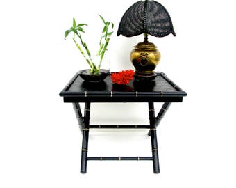 Black & Gold Vintage Faux Bamboo Chinoiserie Tray Table || TWO AVAILABLE || X-Form Hollywood Regency Collapsible Occasional Table