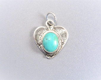 Vintage Sterling Turquoise Heart Southwestern Charm