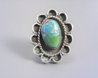 Vintage Southwestern Sterling Turquoise Ring Size 6.5