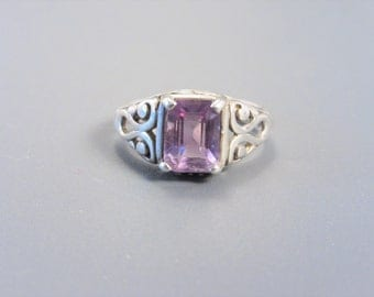 Vintage Sterling Emerald Cut Amethyst Solitaire Ring Size 7