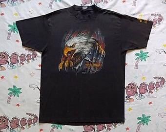 Vintage 90's Harley Davidson Sturgis Black Hills Classic 3D Emblem T shirt, size Large 1991 motorcycle biker