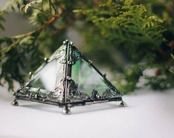 Silver Glass Pyramid glass, Glass casket, Geometric Box, Geometric Glass Box, Jewelry Box, wedding box, ring box, glass casket