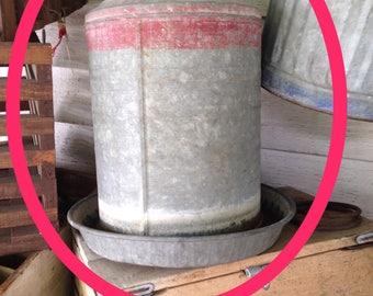 Vintage Chicken Feeder/Water Dispenser, Galvanized Steel
