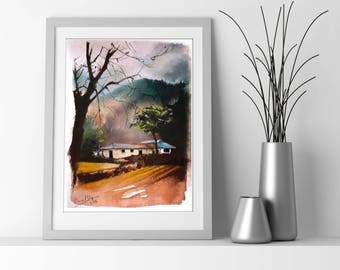 Countryside Landscape ORIGINAL Soft Pastels Painting, Nature painting art, Pastel Drawing Art