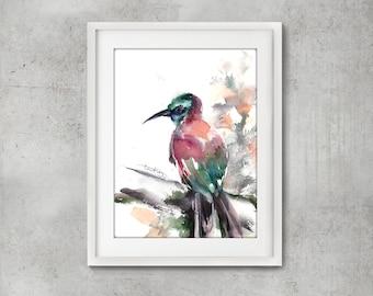Bee Eater Bird Original Watercolor Painting, Bird Art, Painting of Bird, Bird watercolor art