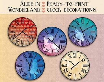 Alice in wonderland clock party printables alice in wonderland decorations Instant download clocks wonderland decor alice in wonderland