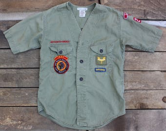 Embroidered Kids Vintage Boy Scout Shirt w/ Patches