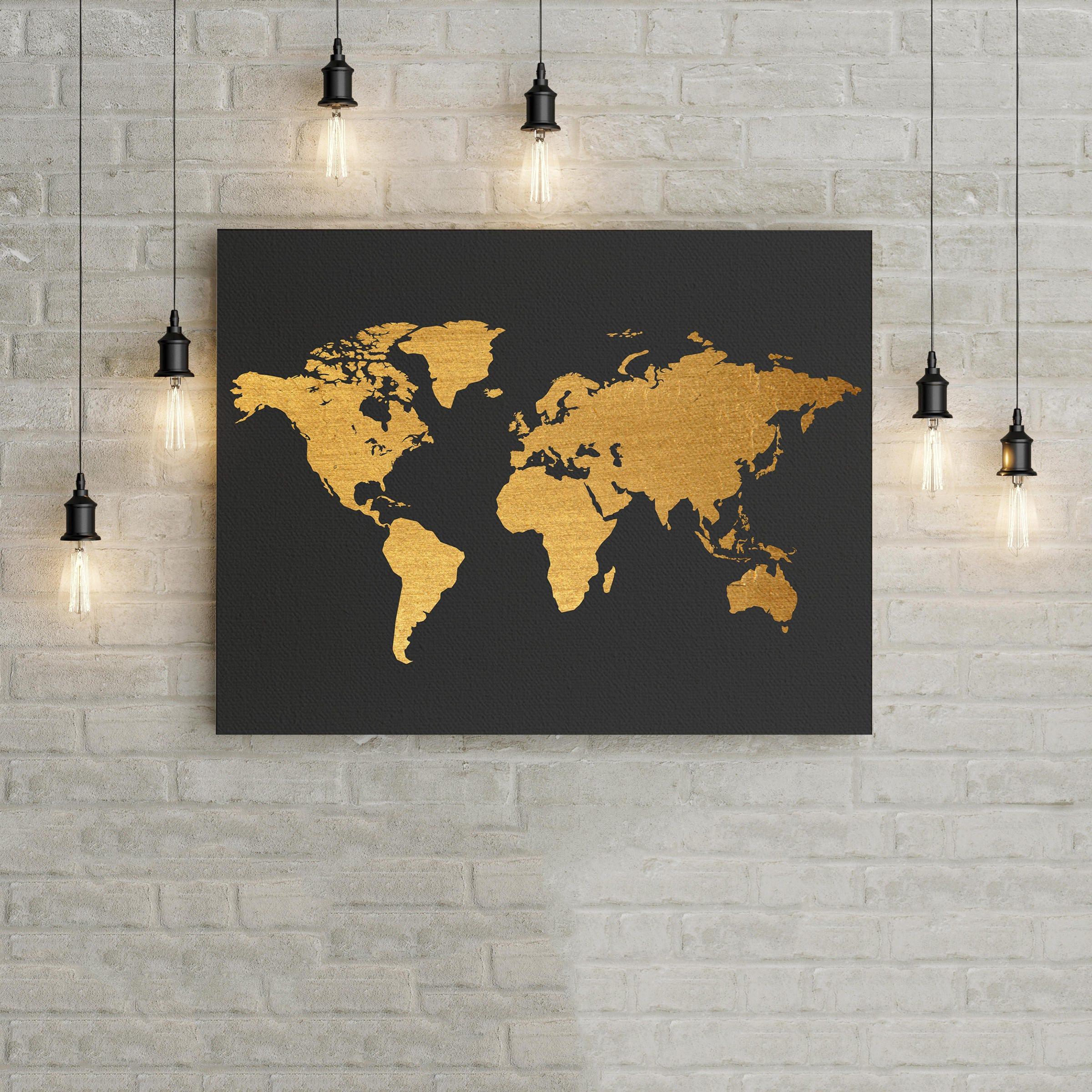 World Map Black And Gold Home Decor Wall Art Poster Office