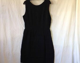 V042 Vintage black chiffon dress with tiered skirt zipper back sleeveless, custom made