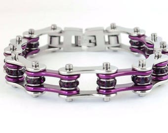 Women's Ladies Motorcycle Stainless Steel Crystal Purple Bike Chain Bracelet