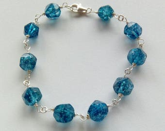 Teal Blue crystal and Sterling Silver Bracelet