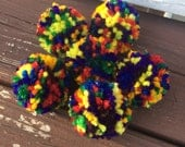 Pom pom cat toys, set of 6, rainbow colors