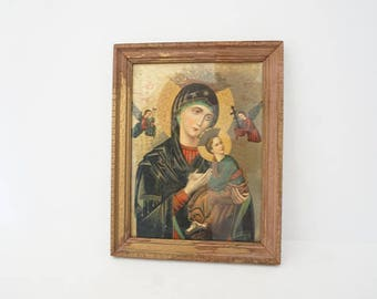Vintage Virgin Mother and Child Religious Wall Hanging Photo Frame Picture