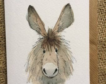Dennis the donkey greetings card, donkey greetings card,