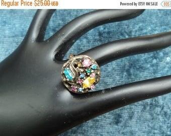 On Sale Vintage Florenza Ring Multicolored Rhinestones