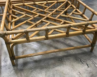 Hollywood  regency  chippendale rattan coffee table