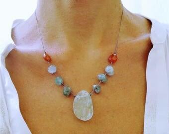 Aquamarine necklace. Raw aquamarine necklace. Rough Aquamarine, apatite, carnelian necklace. Statement aquamarine necklace. March birthstone