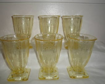 6 Yellow Lorain Basket Footed Tumbler 1930 Indiana depression Glass