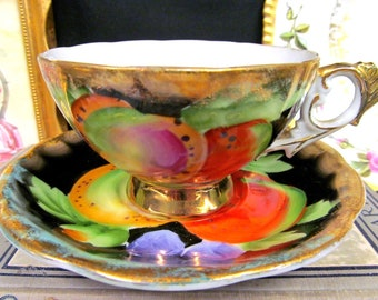 Shafford Tea Cup and Saucer Fruits Painted Teacup Orchard Cup & Saucer