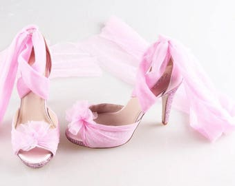 Pretty Pink Peep Toe Sandals With Crystal Heels And Soft Tulle Leg Strap