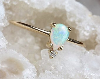 14k Pear Opal Ring, Teardrop Opal Ring, Tear Ring, Prong Setting, October Birthstone, Solid Gold, Tiara Ring Ring, Floating Stone