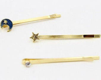 Hair pins with crescent moon, large crystal, and star set  Celestial