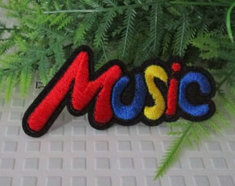 Patch embroidery Applique denim jean patch applique text text music thermocollante writings