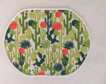 Cactus plants on White, Quilted Placemats