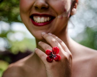 Poppy ring in Murano glass