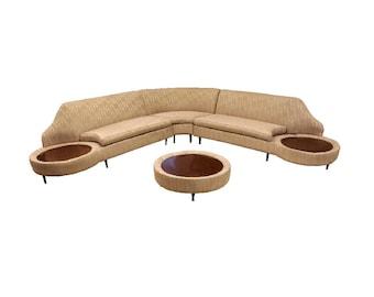 Mid Century Modern 3 Piece Curved Sofa Sectional Ottoman Side Tables Dunbar Era