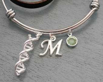 DNA Bangle, DNA Charm Bracelet, Science Gifts, Personalized DNA Bangle, Genetics, Gifts for Doctors, Letter Birthstone, Custom