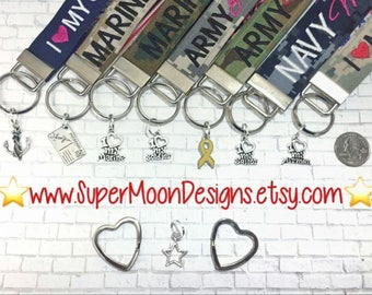 Add-on charms for name tape keychains! I love my Soldier, I love my Marine, I love my Airman, I love my Sailor, Deployment Sucks
