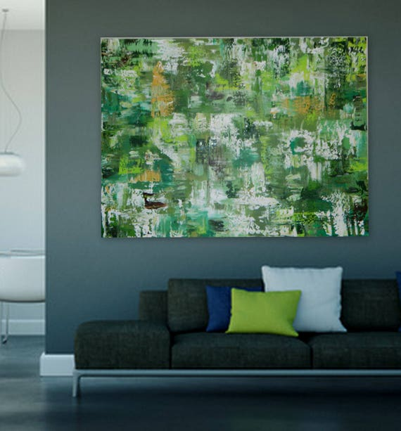Green  Abstract painting Extra Large Painting XL XXL modern art Large huge abstract painting wall art contemporary art  XXL enormous