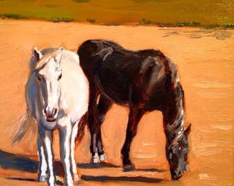 High Contrast Original Oil Horse Painting - Illustration - Wall Art - Decor - Artwork - Nursery - Wildlife - Gift
