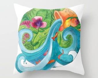 Aquarius Pillow, Throw Pillow, zodiac, star signs,  turquoise,  green,  Aquarius gift, astrology cushion
