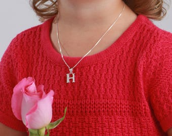 Sterling Silver Initial Letter Neckaces with Sparkling CZs for Girls and Teens in Gift Box