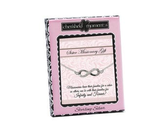 Sterling Silver LDS Sister Missionary Infinity Necklace in a Gift Box (SMN-Infinity)