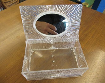 Vintage Plastic Jewelry Box with Mirror