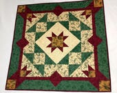 Christmas Star Winter Table Topper Quilt in Cream, Red + Green, Quilted Christmas Wall Hanging, Hostess Gift Quilt, Quiltsy Handmade