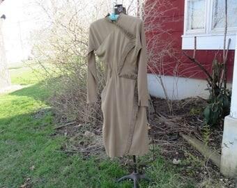 "Vintage 1950s New Look dress wool long sleeve ruffle trim bust 32"" waist 24"" Wolf & Dessauer Fort Wayne IN (11417)"
