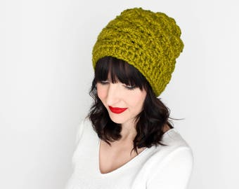 Slouchy Beanie, Chunky Knit Hat {The Madison} in Lemongrass Green