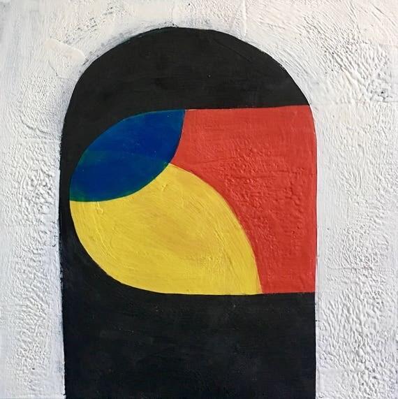 "Window Shopper, 24"" square encaustic painting"