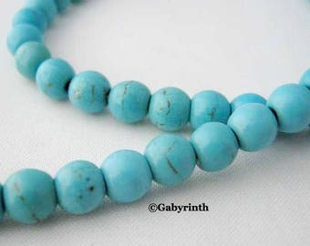 Howlite beads 4mm Turquoise Blue