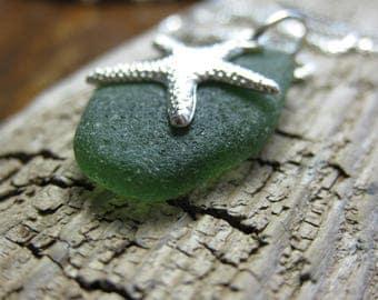 dark green seaglass pendant, sea glass necklace starfish charm, SeaglassWithATwist