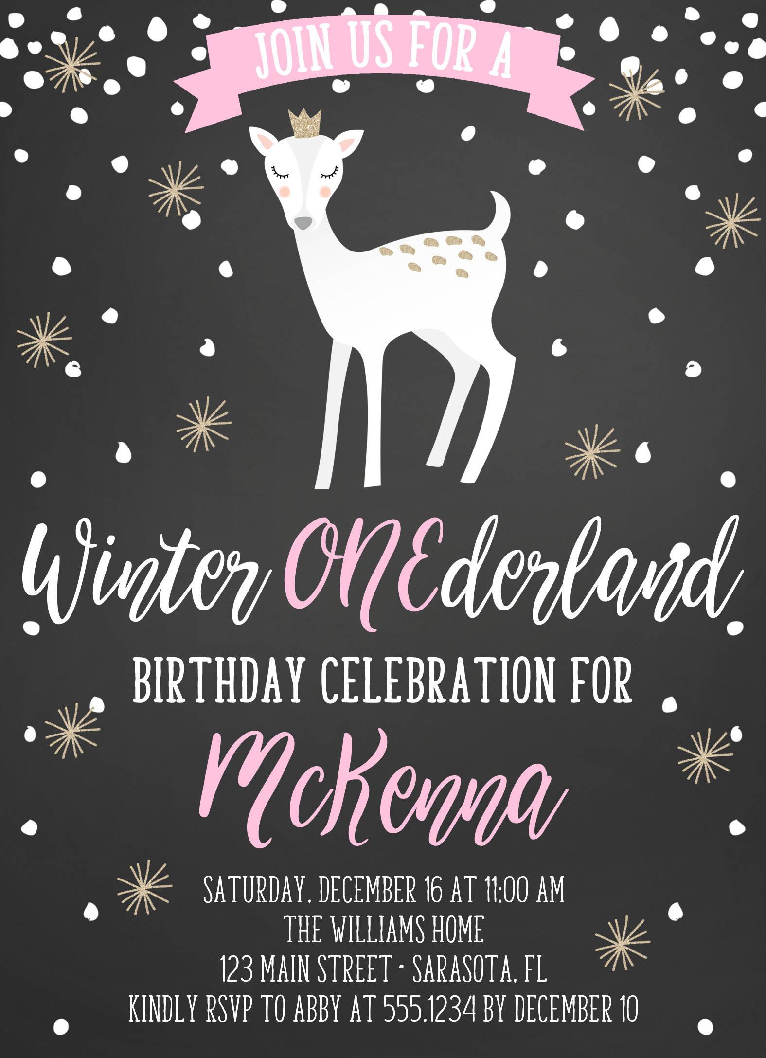 Winter Onederland Birthday Invitation, Winter Onederland Invite ...