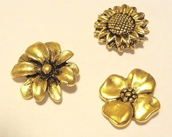 Assorted Flower  PUSH PINS, Set of 15pc
