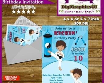 Kung Fu, Karate, Jujitsu, Judo Birthday Party Invitation for Kids - Personalized Printable File
